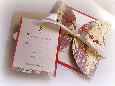 Wedding invitation with asian design