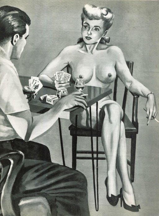 strip poker after Spanked