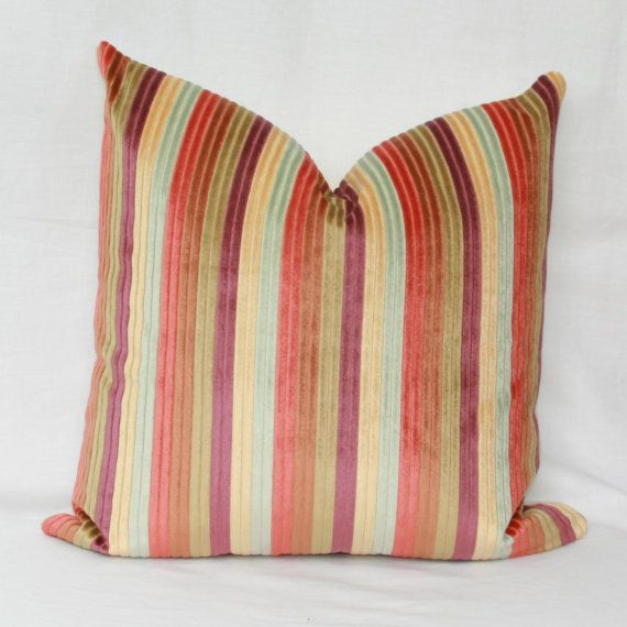 Jewel-toned striped throw pillows