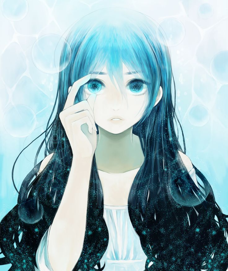 eyes Anime girl with blue