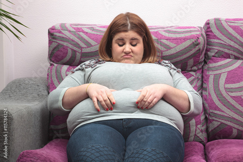 on couch woman Fat