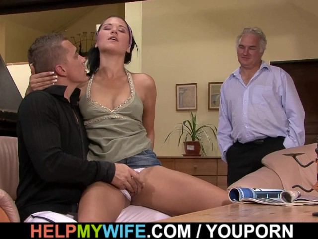 Old husband watching brunette cuckolds