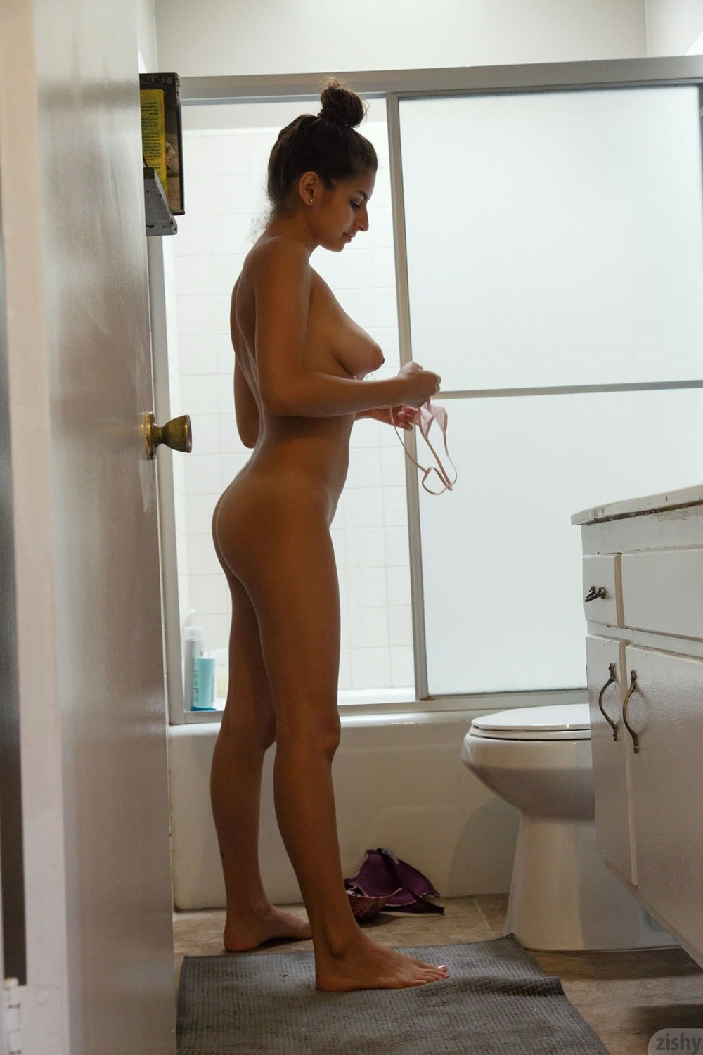 nude naked shower look topless Half