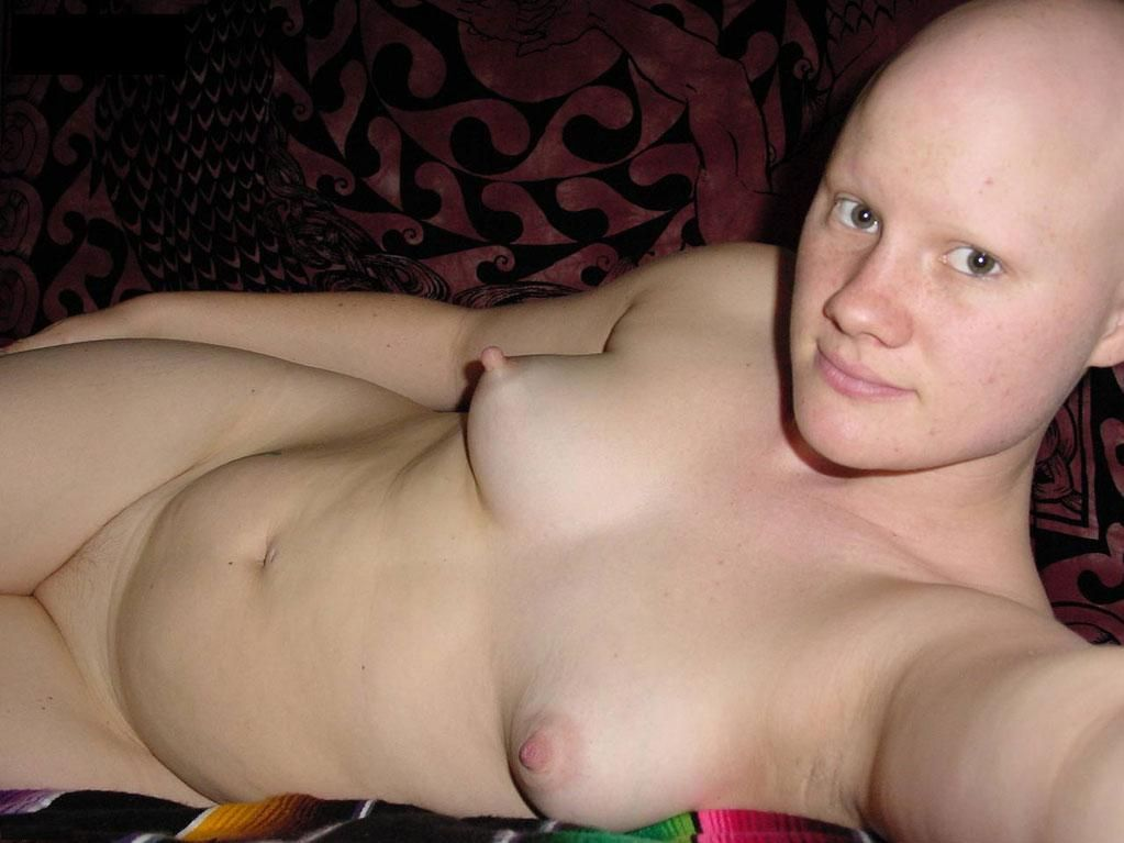 Women with shaved heads eyebrows